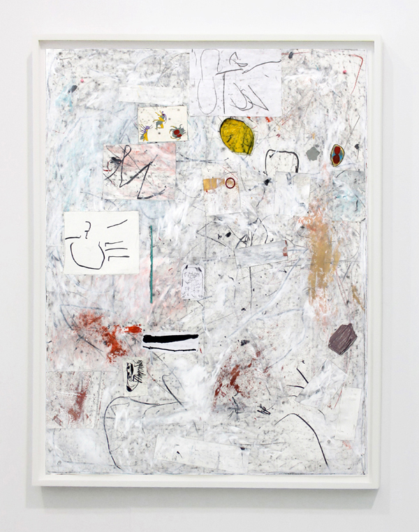 Joseph Hart. Untitled, 2014, collage, acrylic, oil crayon and graphite on paper in floating, white frame, 135x104 cm.