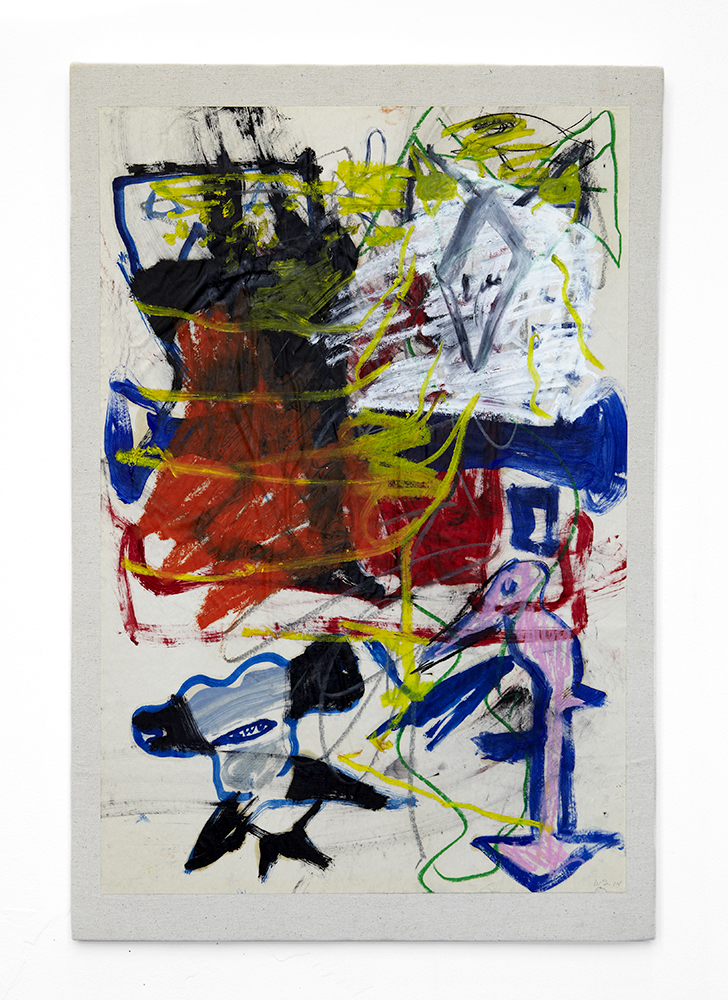Bill Saylor. Untitled, 2014, acryllic, crayon, marker on paper mounted on canvas. 70x100 cm