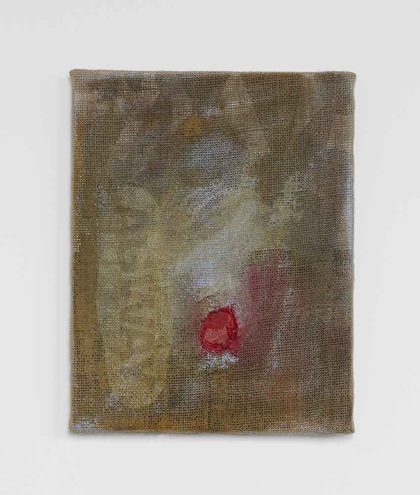 Ted Gahl. Wound painting, 2014, acryllic, cotton net on canvas, 28x35,5 cm.