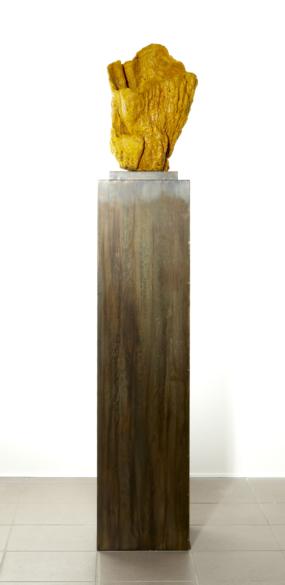 Nick Theobald. Beacon, 2014, beeswax, sea sponge and steel, 31 cm x 31 cm x 170 cm