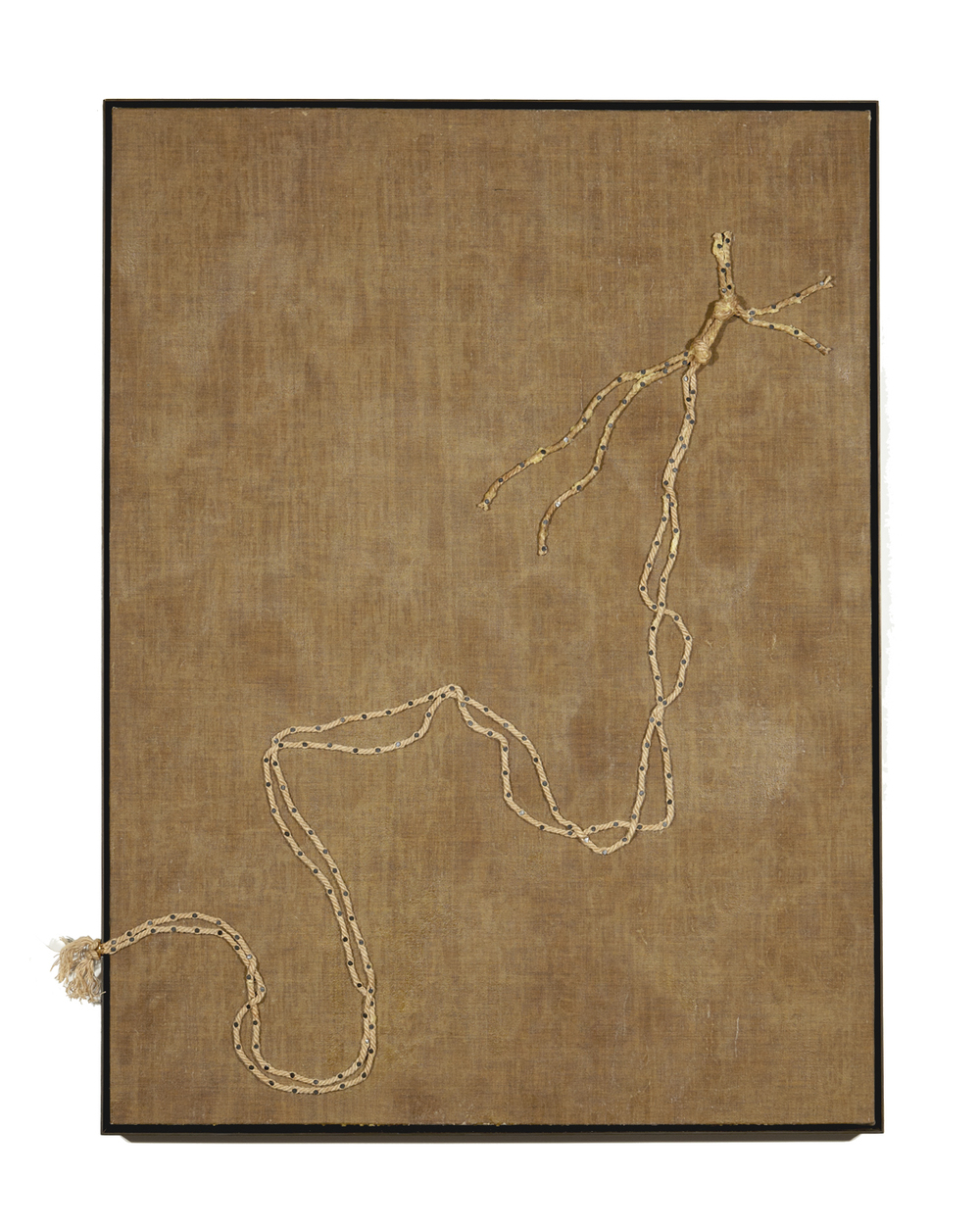 Nick Theobald. I know one day you will set me free, 2014, beeswax, linen, wood, jute rope, steel nails, steel and solid 24k gold, 124 cm x 94 cm