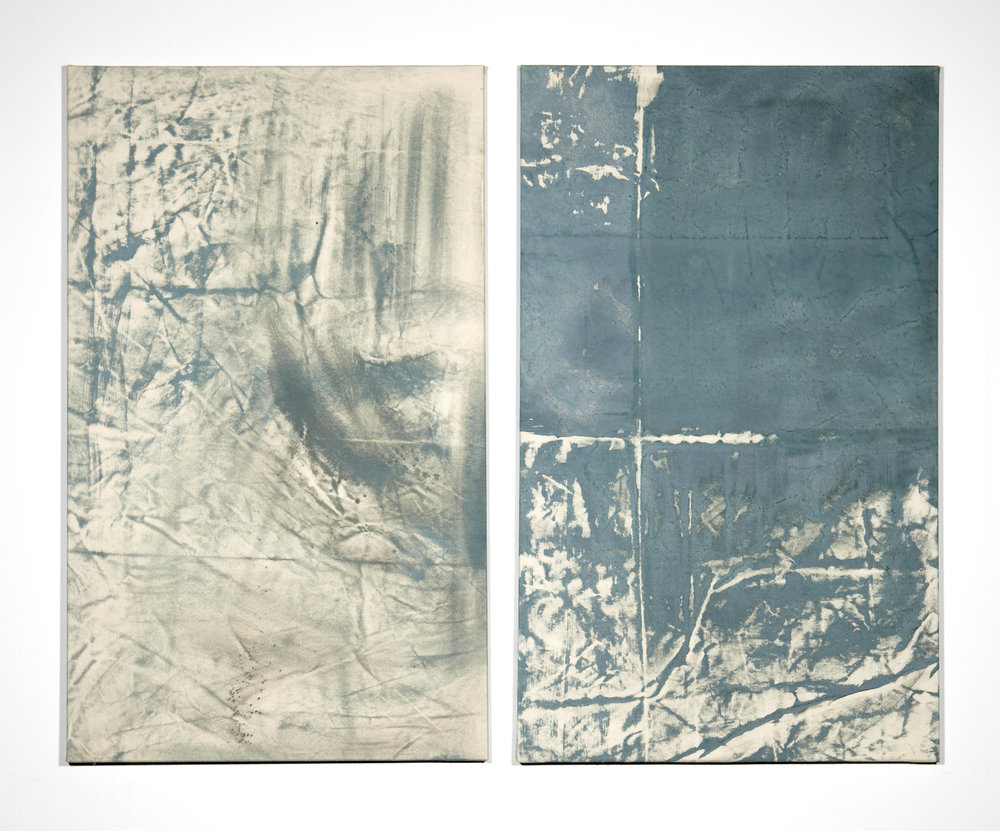 Martin Aagaard Hansen. Wall frottage (Refshaleøen)(two-piece work), 2014, water colour and chalk on canvas, 100 cm x 60 cm + 100 cm x 60 cm