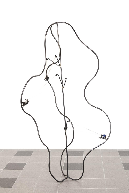 Bernhard Buff, Trigger, 2015, iron, rubber, snooker balls, 220 x 120 cm