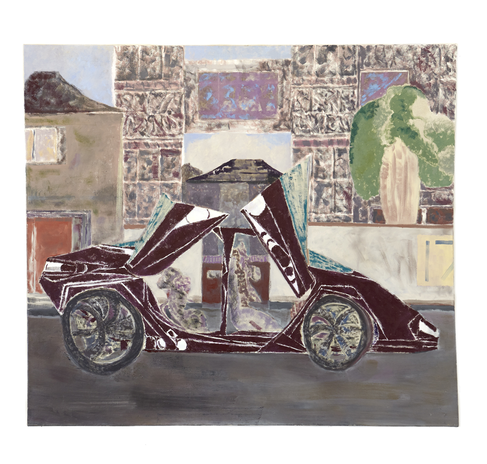 Mads Westrup, Suicide doors and random cabbage #3, 2014, oil on canvas, 144 x 162 cm