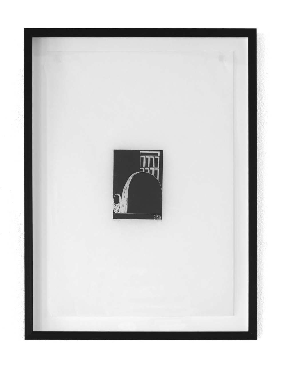 Untitled, 2015, ink print on paper (1/1), floating black pine frame, 50 x 35 cm