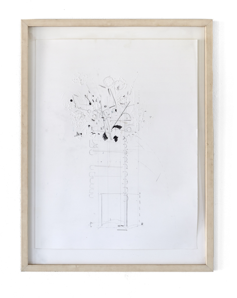 Karine Fauchard, Dead Flowers Bouquets #1, 2013, pencil and engraving on bristol paper, 65 x 50 cm, wooden frame