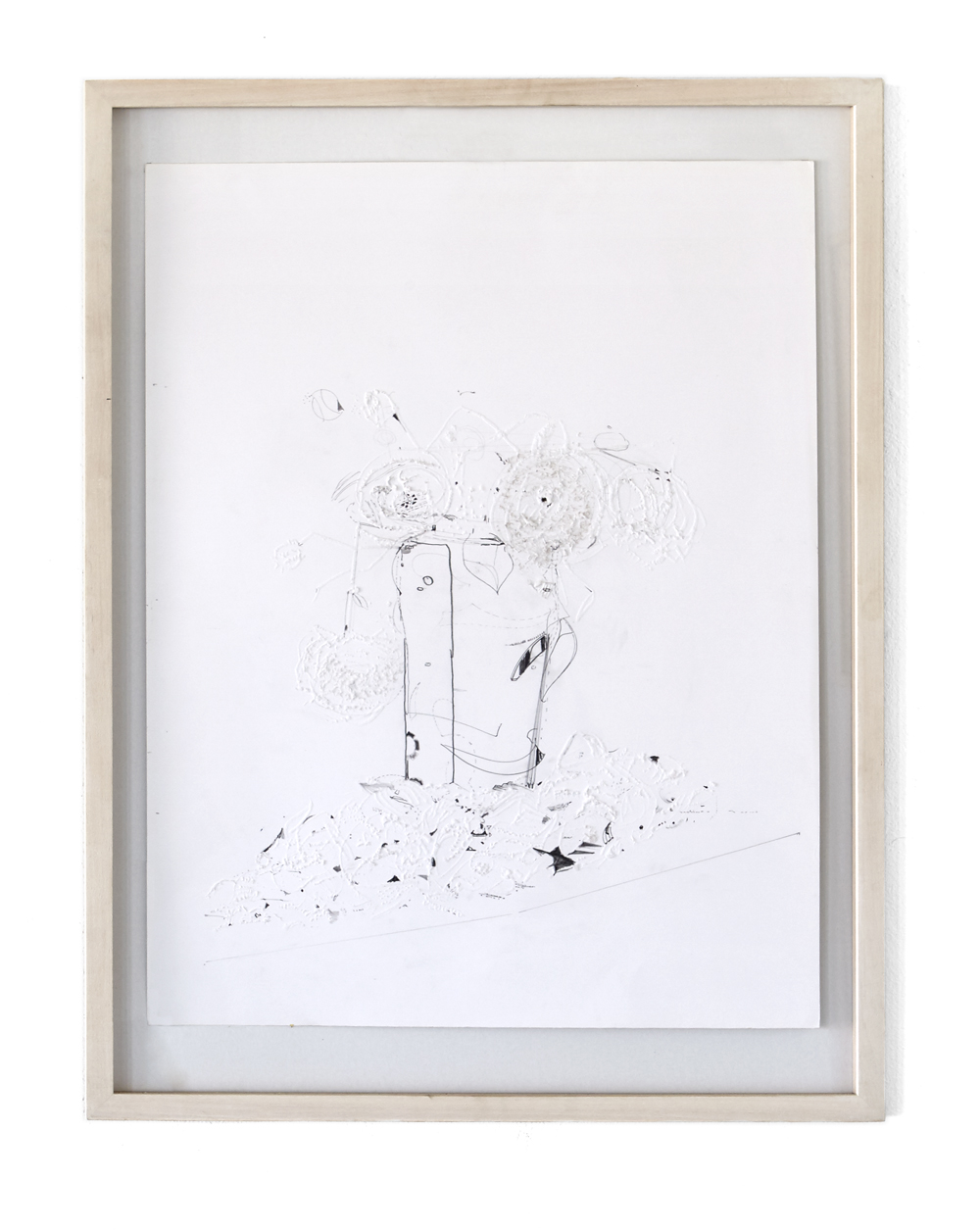 Karine Fauchard, Dead Flowers Bouquets #2, 2013, pencil and engraving on bristol paper, 65 x 50 cm, wooden frame