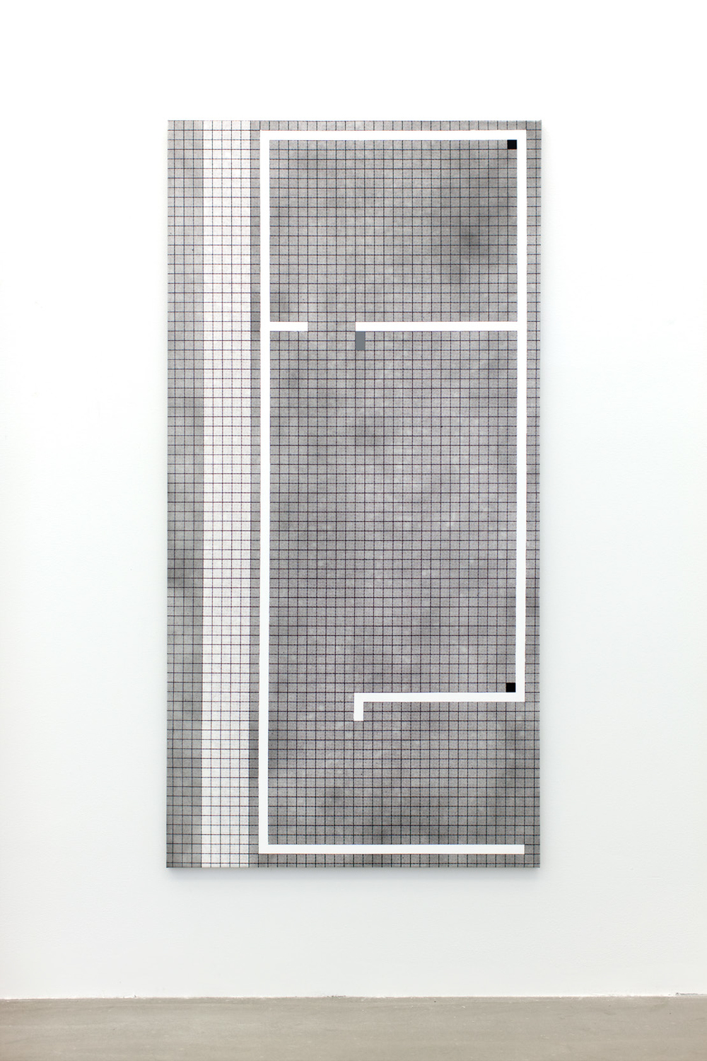 Jan S. Hansen: 'Grid', 2016, screenprint, enamel and acrylic on canvas, 100 x 200 cm