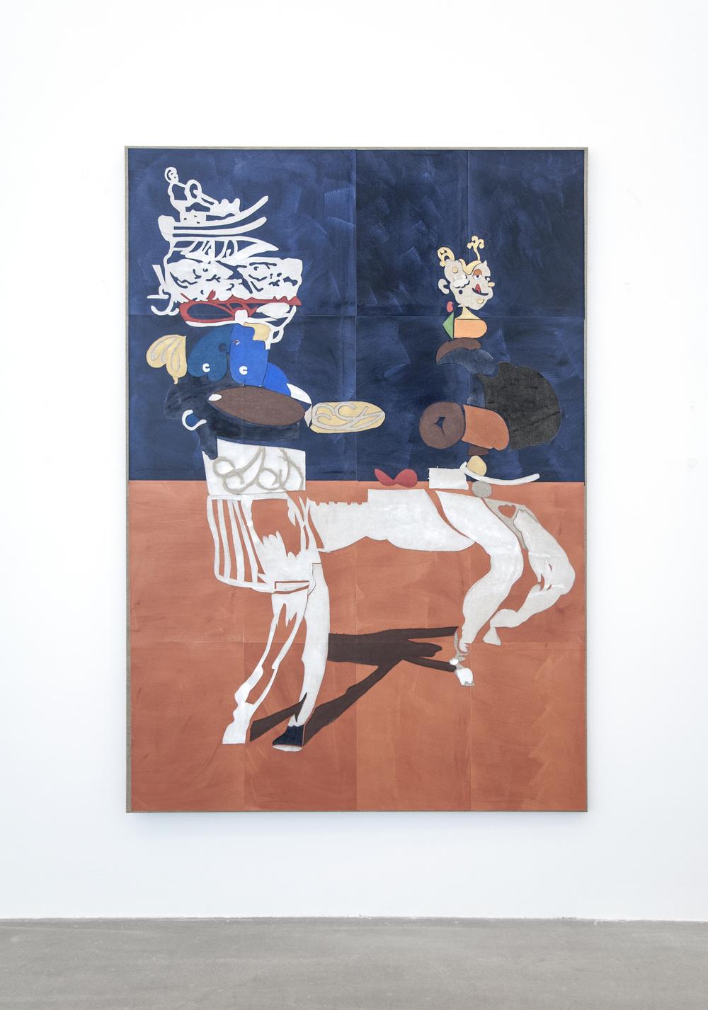 Uden Titel (Primavera Exoskeleton), 2016, gouache, grafit, lim, papir- og lærredcollage på lærred, 170 x 118 cm
