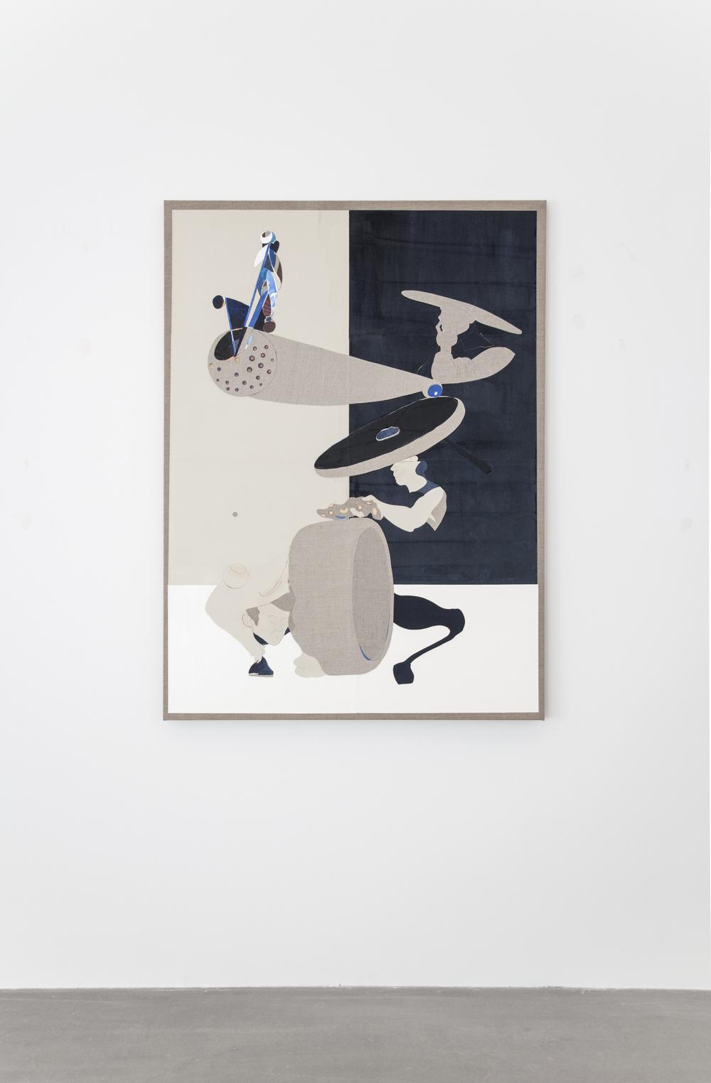 Uden Titel (Primavera Exoskeleton), 2016, gouache, grafit, lim, papir- og lærredcollage på lærred, 130 x 95 cm