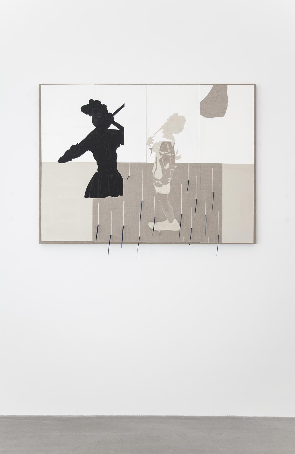 Uden Titel (Primavera Exoskeleton), 2016, gouache, grafit, lim, papir- og lærredcollage på lærred, 95 x 130 cm