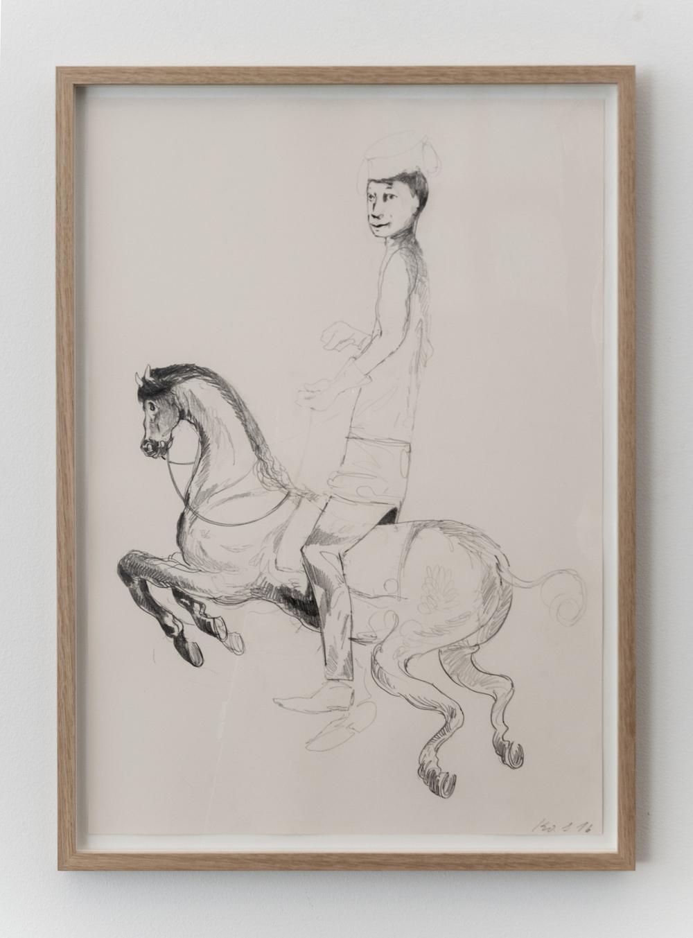 Uden Titel (Rytterknas), 2016, grafit på papir, 66 x 46 cm