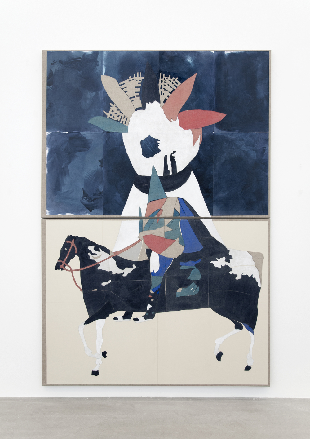 Uden Titel (Primavera Exoskeleton), 2016, Gouache, grafit, lim, papir- og lærredcollage på lærred, 190 x 130 cm