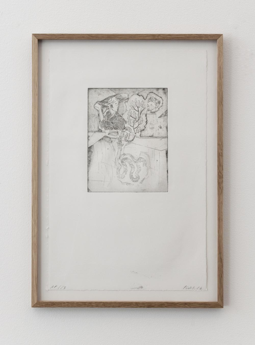 Uden titel, 2016, kobbertryk, ramme i eg, 57 x 40