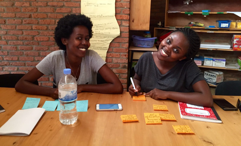 Happy and Mireille hard at work in Kigali, Rwanda, in 2016