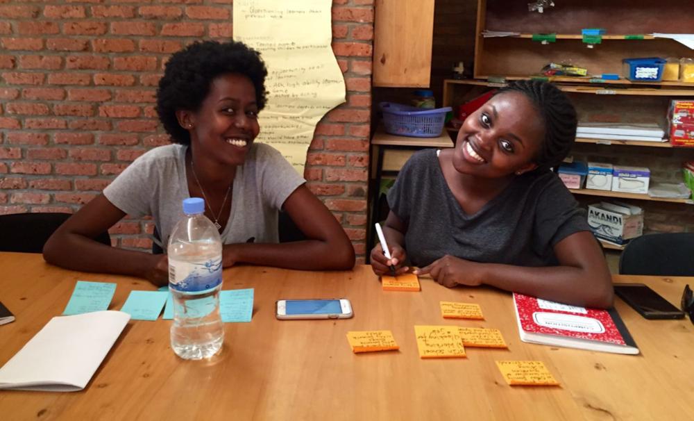 Happy and Mireille hard at work in Kigali, Rwanda, in 2016