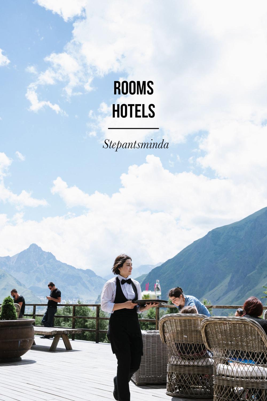 Rooms hotel i Stepantsminda, Georgien.