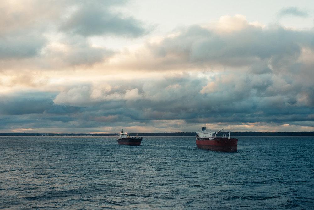 Soluppgång på M/S Victoria på väg till Tallin med kryssning