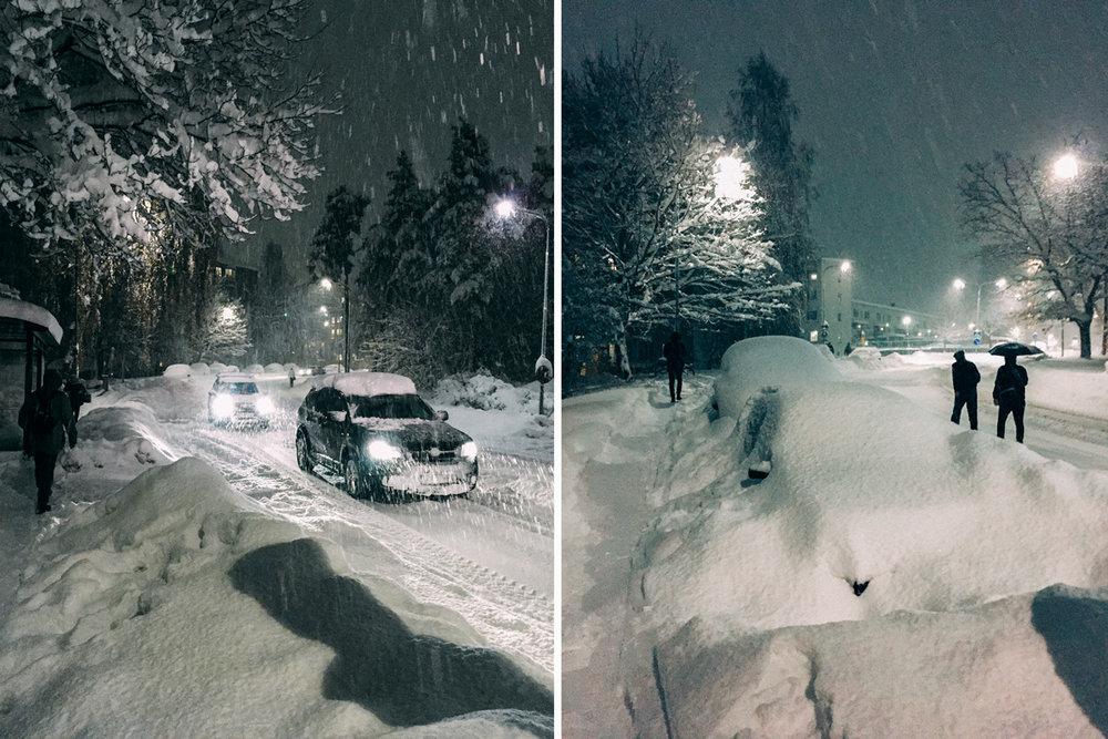 Snökaos i stockholm vintern 2016