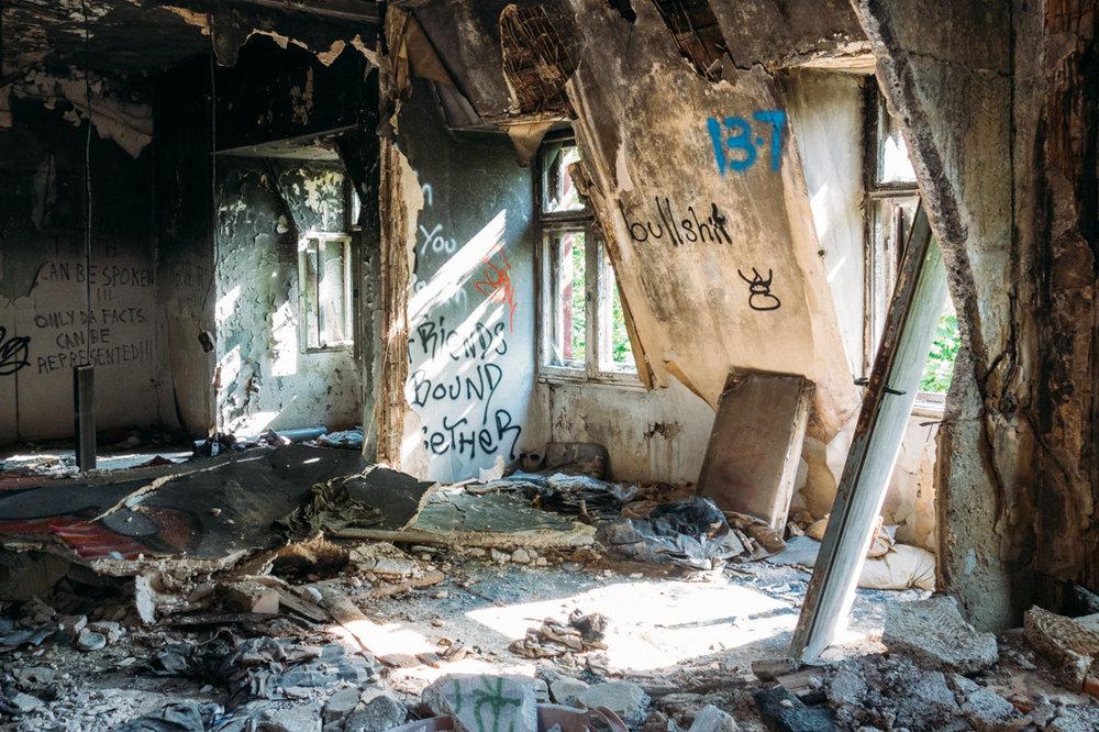 Ruiner av hus i Berlin