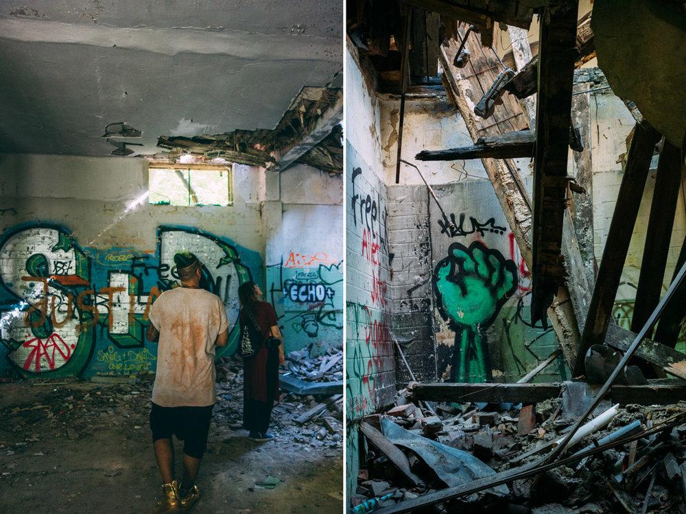 Habz och Toril på urban exploring i övergivet hus i Berlin