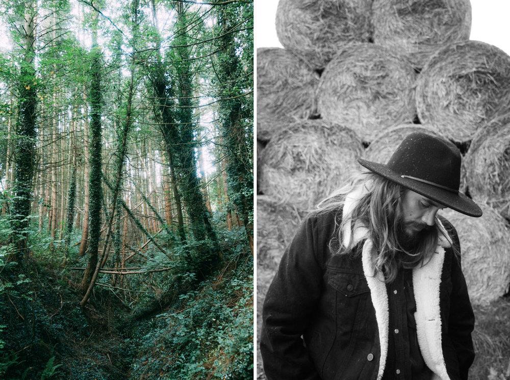 manligt porträtt med man med skägg på engelska landsbygden