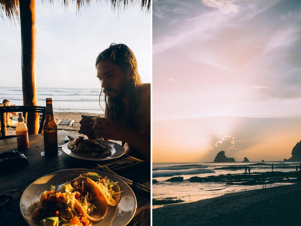 Äta taco på Restaurang vid playa maderas strand i solnedgång i Nicaragua
