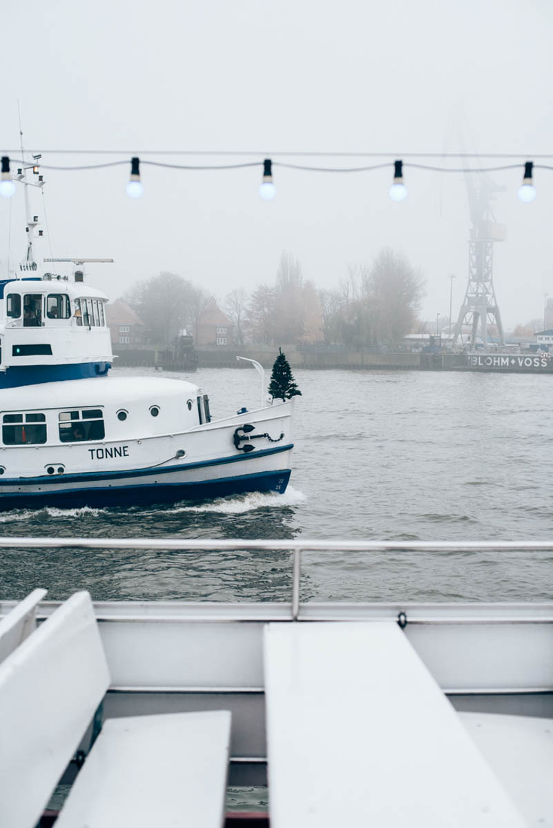 Båttur genom dimmiga hamnen i Hamburg