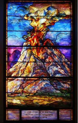 Mount Sinai Window,  1923, Tiffany Studios (Ecclesiastical Department), streaky colored glass, lead, paint, Louis Comfort Tiffany signature in lower right corner, Congregation of Beth Ahabah (Richmond, VA)