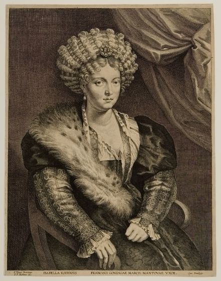 Lucas Vorsterman I, Isabella d'Este, Wife of Francisco Gonzaga, Duke of Mantua, 17th century  Engraving on paper Harvard Art Museums, Cambridge