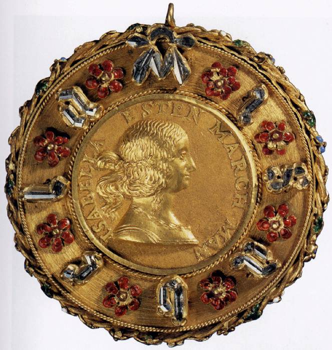 Gian Cristoforo Romano, Portrait Medal of Isabella d'Este , circa 1498    Gold cast medal inset with stones    Kunsthistorisches Museum, Vienna