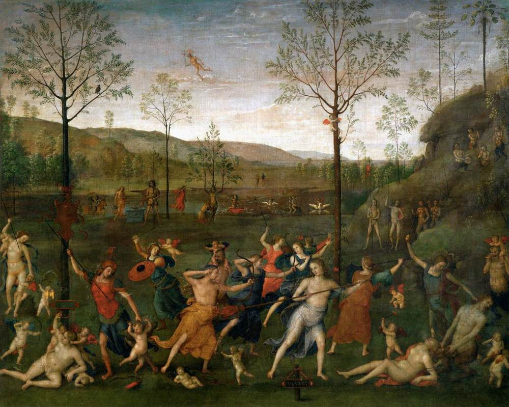 Pietro Perugino,  Battle   of Chastity and Lasciviousness , 1503-1505    Tempera on canvas,  160 cm × 191 cm   Musée du Louvre, Paris