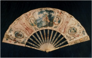 Marriage Fan, c.1750 England paper, ivory, gouache Private collection