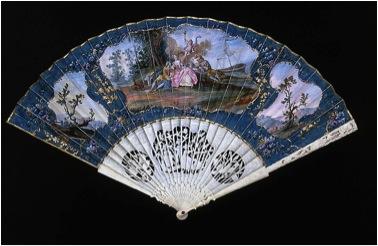 Sevres Fan , c. 1760  France  skin leaf, gouache, gilt, ivory  Boston, Museum of Fine Arts