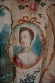 Detail of  Marriage Fan , portrait cartouche