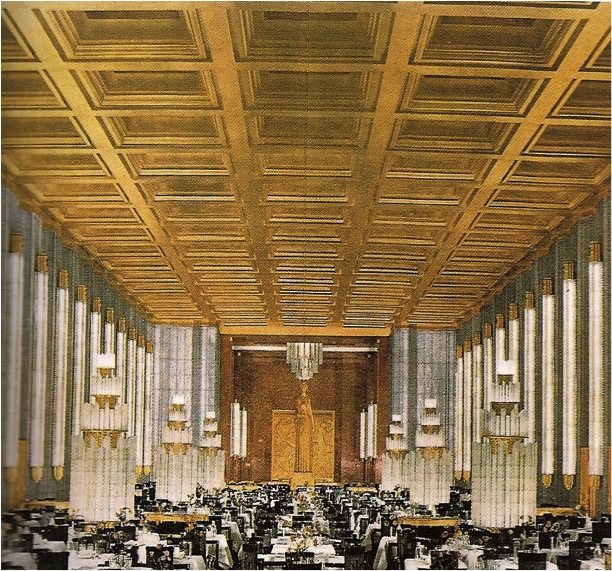 Normandie   Isometric drawing of First Class Dining Room  circa 1935  Private collection