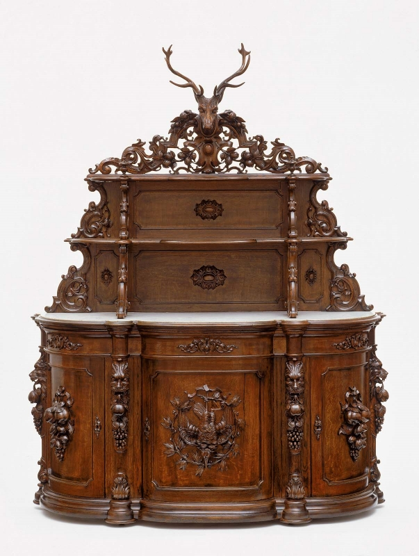 Sideboard, 1850–60 Ignatius Lutz (American (born in France), 1817–1860) Oak, yellow-poplar, marble Museum of Fine Arts, Boston  On view in Forkner and Gill Family Gallery (Gallery 238)   Learn more about the sideboard.
