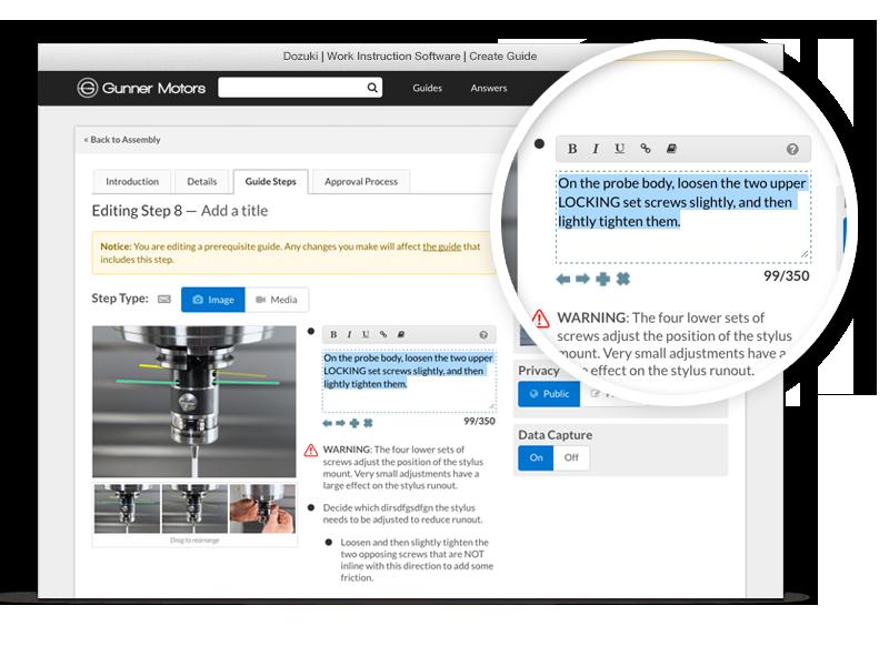 Markierungswerkzeuge, einfache Bild-Platzierung, Video-Support und mehr helfen unseren Kunden dabei, den Authoring-Zeitaufwand um über 60% zu reduzieren.