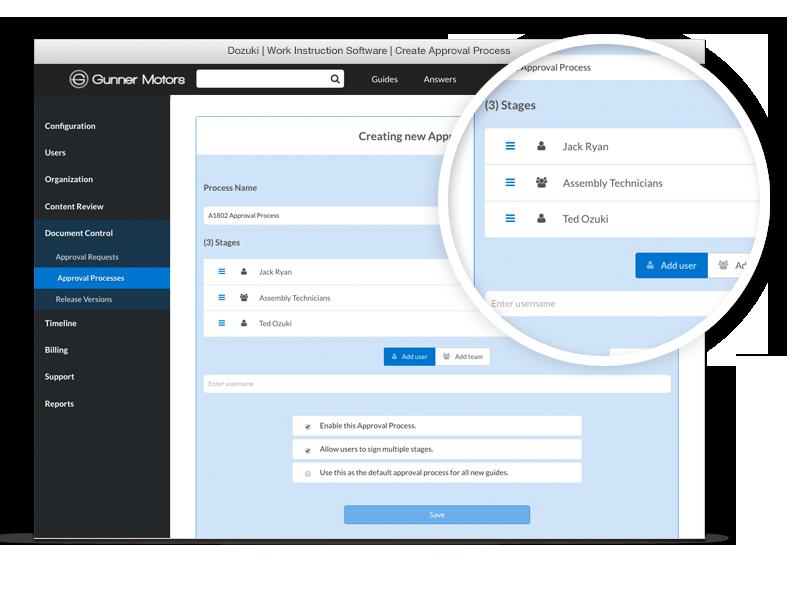 Egal, ob Sie eine Single-Sign-Off-Lösung oder mehrere Berechtigungen benötigen, mit unserer intuitive Plattform können Sie schnell und einfach ihre eigenen Genehmigungsprozesse festlegen.