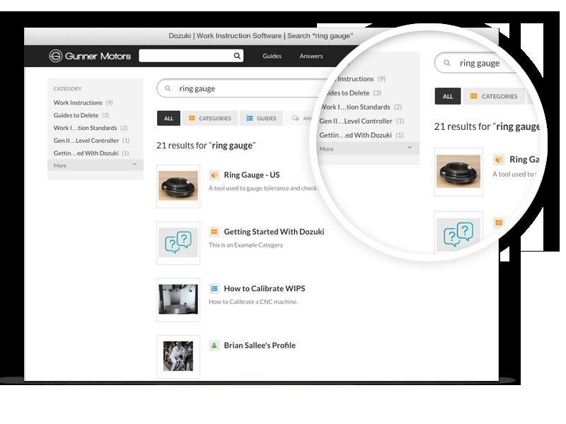 Mithilfe der Suchfunktion erhalten Nutzer schnell alle relevanten Informationen, die sie für das Ausführen einer Aufgabe benötigen. Unsere Plattform indiziert Ihre Dokumente,  damit sie schnell per Keyword-Suche auffindbar sind.