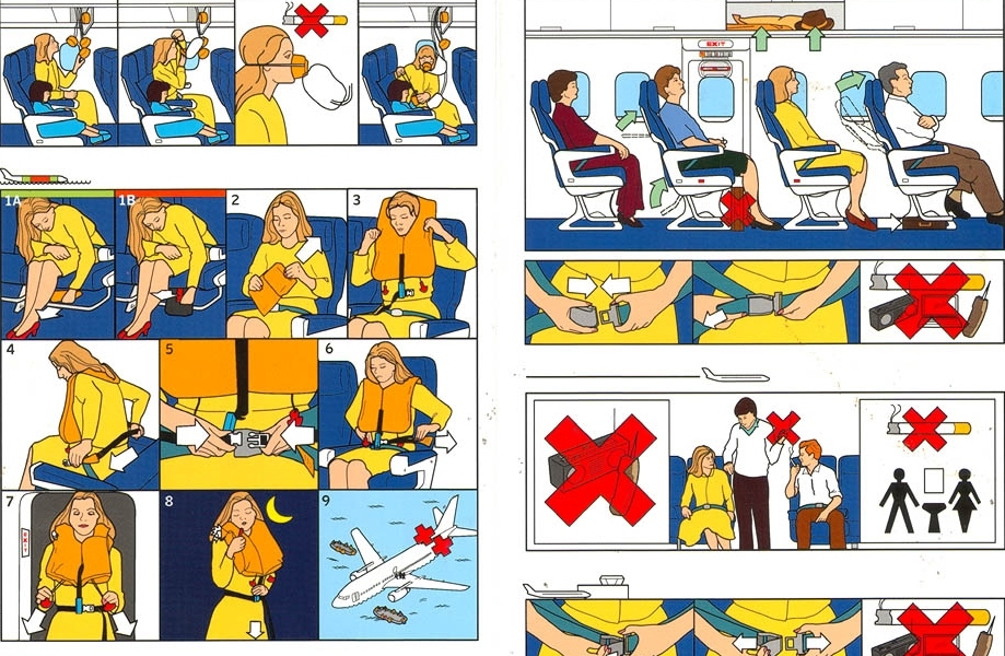Most of us will remember these plane safety instructions from pocket in the seat in front of us. There are many reason why airlines use graphics instead of written steps - particularly for international travel, graphics don't require translation.