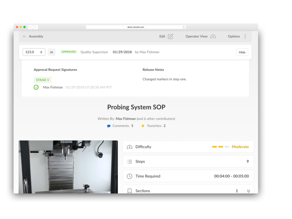 - Gather the necessary approvals and release new versions to the relevant personnel; making sure to archive outdated procedures.Dozuki automates this entire process, including release notes to help explain changes.