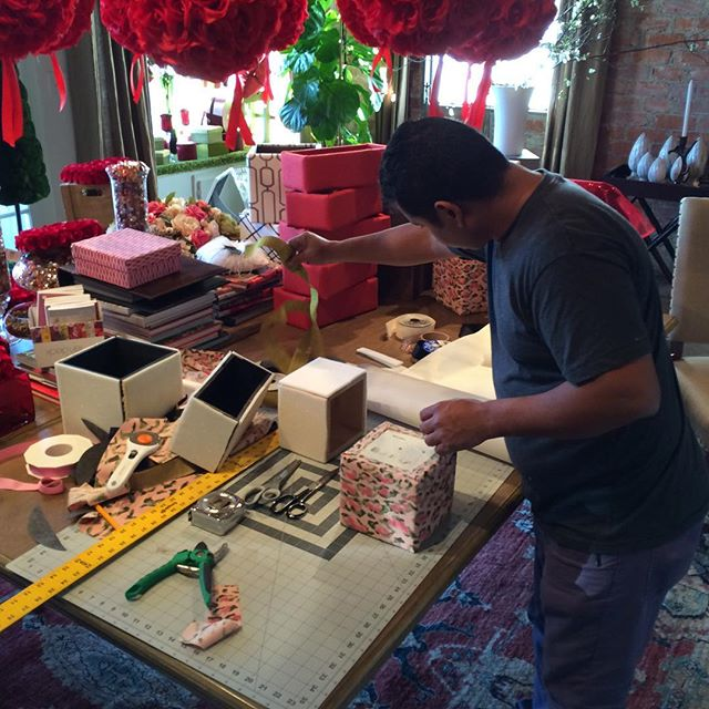 Working on our new fabric covered boxes we are featuring for #ValentinesDay and beyond which will be overflowing with our beautiful #floral designs! #flowers #love #beverlyhills #handmade #fabric #florist #joannefabrics