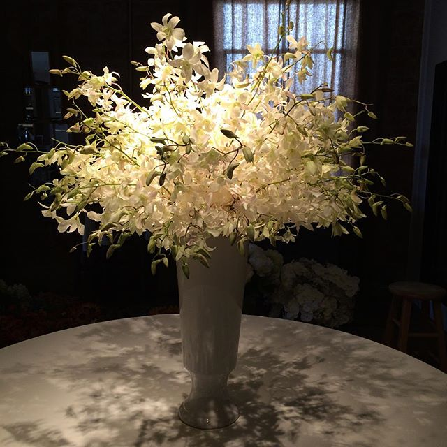 These 200 Hawaiian Dendrobium orchids look crazy good! #wedding #birthday #beverlyhills #sticksandstones #floralarrangement #flowers #white #sticksandstones