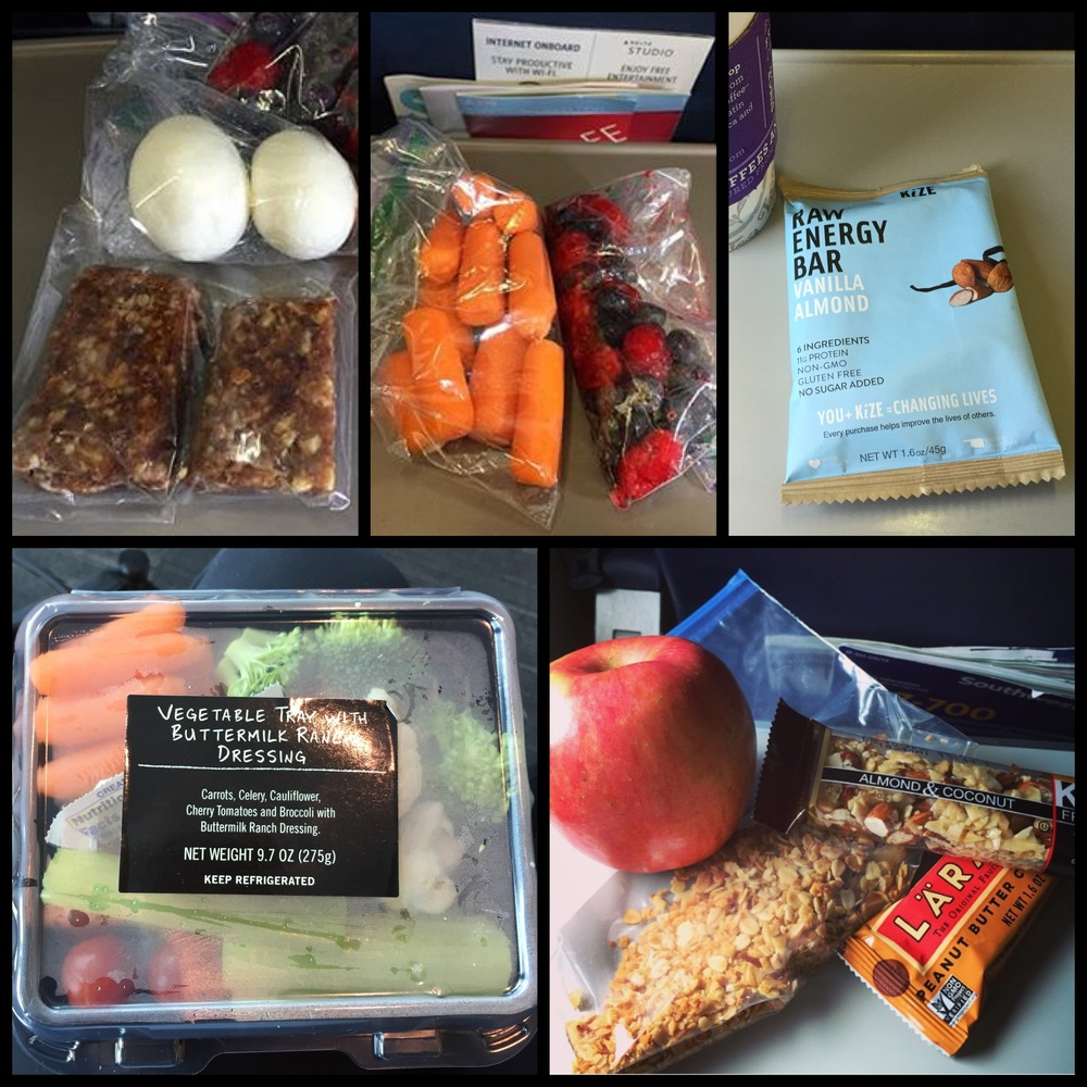Hard-boiled eggs, homemade  fruit & nut bars , fresh fruits & veggies, energy bars, and  homemade granola  all make great snack options while traveling.
