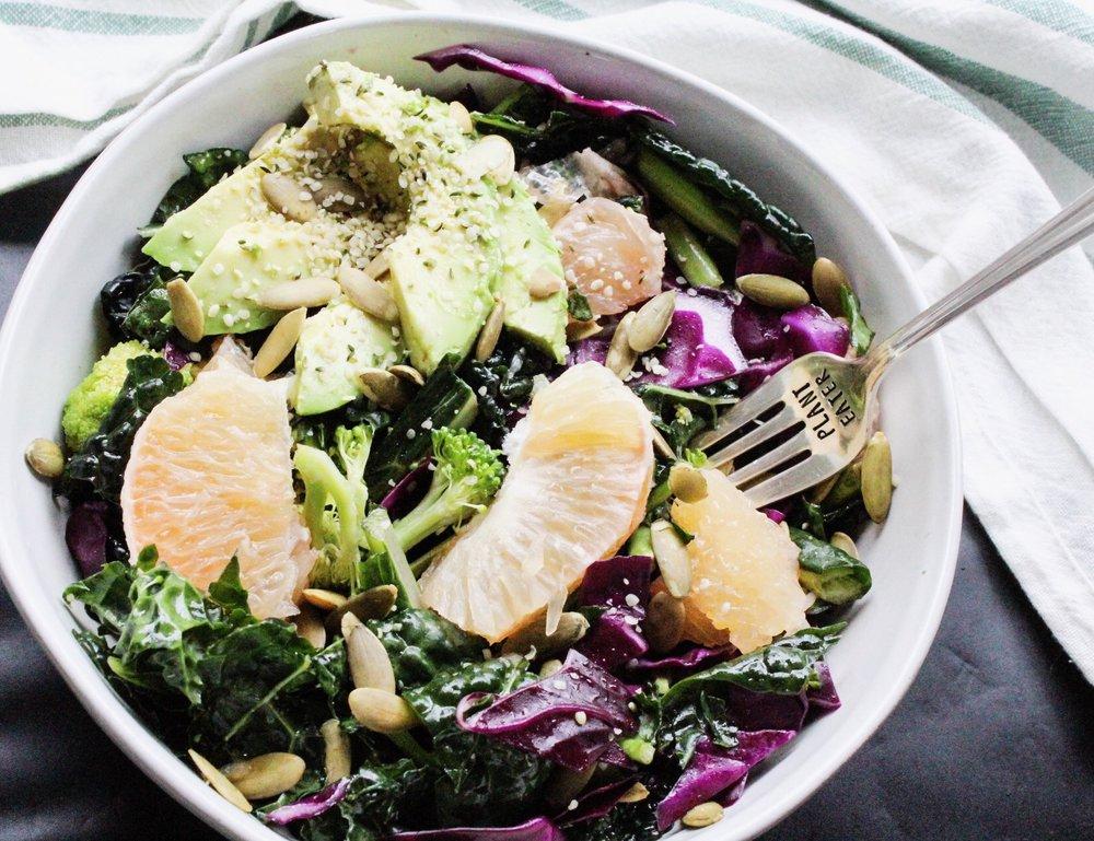 Kale, Grapefruit, Avocado Salad - Eleat Nutrition