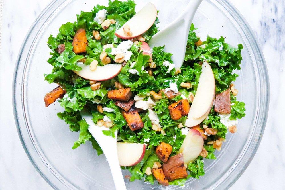 Roasted Sweet Potato & Crisp Apple Salad