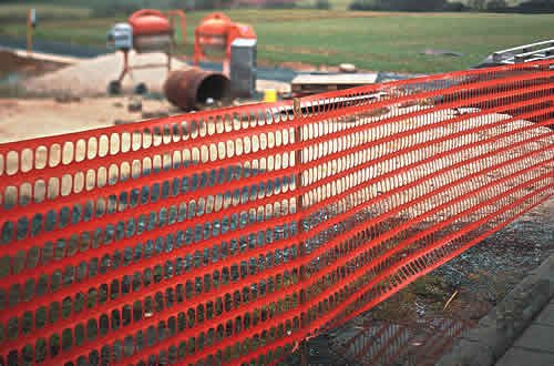 Safety and Tree Protection Fencing    Tree Protection Fence  Fabric tree protection fence is a versatile barrier consisting of wide orange horizontal bands, giving high visibility for a wide range of applications. The material is lightweight and economical, yet tough enough to ensure a long life of normal use.