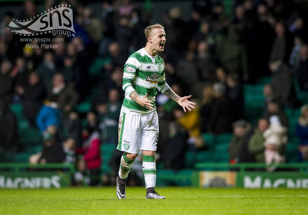 Leigh Griffiths celebrates at full time after scoring in the dying minutes to give Celtic a 1-0 win over Partick Thistle at Celtic Park.