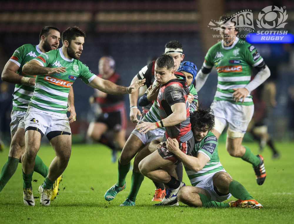 Damien Hoyland of Edinburgh Rugby smashes his way through the Treviso defence at BT Murrayfield.